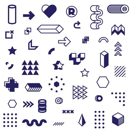 Different graphic geometric icon set. Modern abstract graphic elements, shapes, pictograms and figures for design isolated vector illustration collection. Style and decoration concept 向量圖像