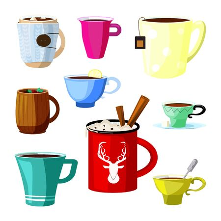Hot drinks set. Collection of cups for various beverages. Can be used for topics like food, cafe, dessert