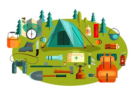 Set of camping tools and equipment. Tent, backpack, map, forest. Can be used for topics like tourism, adventure, outdoor activity