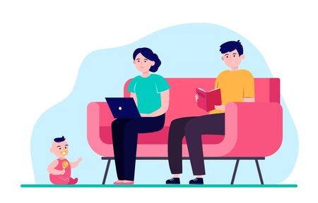 Young family sitting in one room. Sofa, laptop, book flat vector illustration. Relationship and togetherness concept for banner, website design or landing web page