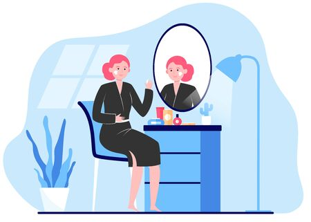 Woman applying cream to face skin at mirror. Lady practicing skincare routine in her bathroom. Vector illustration for morning hygiene, beauty care, face washing concept 矢量图片