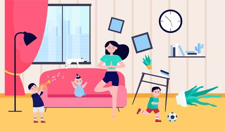 Calm mother doing yoga among naughty kids. Children making chaos while mom meditating at home. Vector illustration for motherhood, childhood, stress relief concept Vecteurs