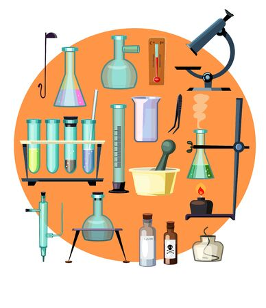 Laboratory equipment set illustration. Microscope and different flasks on orange background. Can be used for topics like experiments, chemistry, science