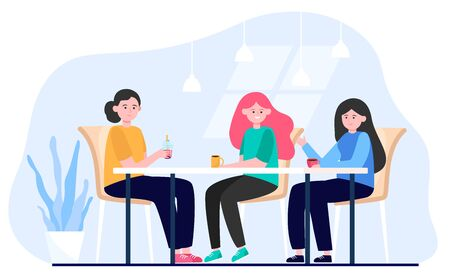 Female friends hanging out in cafe. Women drinking coffee during lunch break, sitting at table and talking. Vector illustration for friendship, eating out, meeting concept 向量圖像