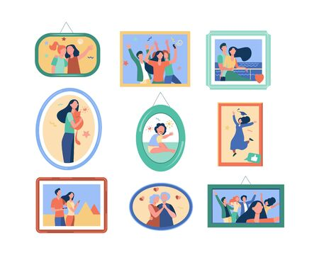 Cartoon family photo frames isolated flat vector illustration. Framed portraits and pictures of happy people on wall. Decor, dynasty and generation concept