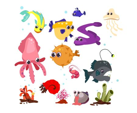Sea cartoon characters set illustration. Different sea animals and fishes on white background. Can be used for topics like sea, kids book, cartoon 版權商用圖片