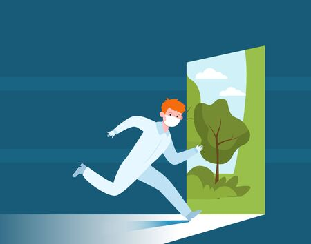 Young man in protective uniform running outside. Mask, doctor, nature flat vector illustration. Isolation and quarantine concept for banner, website design or landing web page