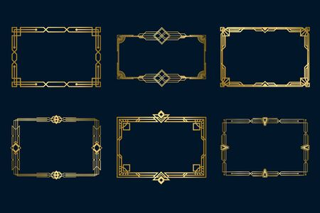 Various vintage golden frames set. Art deco decorative borders and antique filigree geometric design elements isolated vector illustration collection. Decoration and ornaments concept