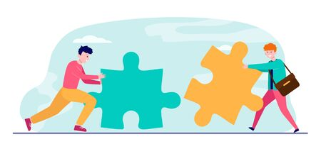 Young men with big puzzle pieces. Help, together, coworking flat vector illustration. Teamwork and friendship concept for banner, website design or landing web page Vectores