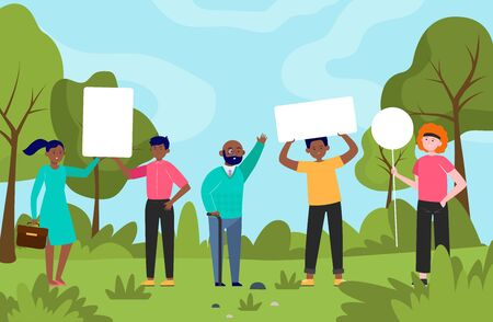 People standing with placards in park. Protest, banner, opinion flat vector illustration. Democracy and social position concept for banner, website design or landing web page
