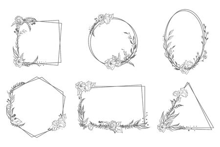 Various hand drawn floral geometric frames set. Linear elegant vintage elements for wedding invitation isolated vector illustration collection. Decoration and ornaments concept 向量圖像