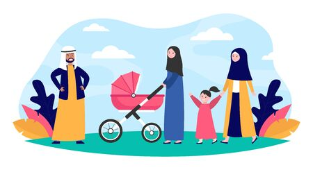 Muslim family walking in park. Kid, nature, love flat vector illustration. Nationality and religion concept for banner, website design or landing web page