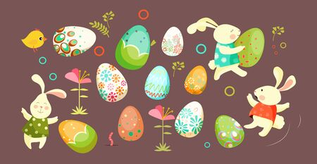 Set of Easter eggs and bunnies. Colorful eggs, springtime, tradition. Can be used for topics like celebration, festive, Easter decoration