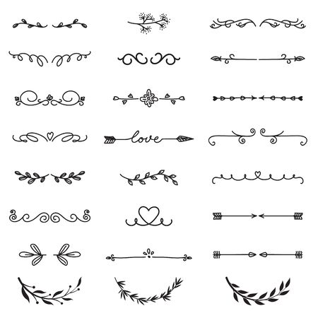 Various decorative text dividers set. Black hand drawn ornament borders and calligraphic elements isolated vector illustration collection. Decoration and ornaments concept Vetores