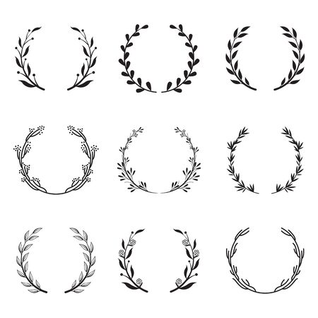 Various round floral and laurel frames set. Branch wreathes, olive branches and leaf elements isolated vector illustration collection. Achievement and victory concept