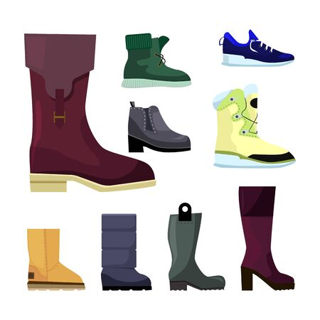 Shoes for women set. Collection of boots for female customer. Can be used for topics like style, fashion, footwear