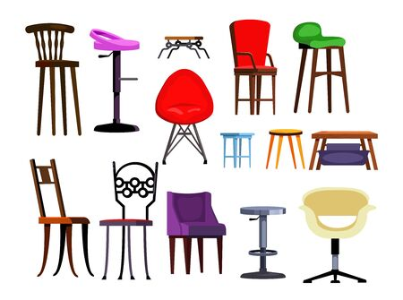 Chairs set illustration. Different chairs on white background. Can be used for topics like house interior, design, furniture 版權商用圖片