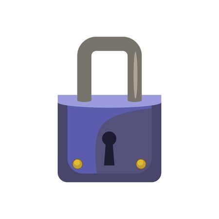 Small blue padlock. Keyhole, metallic, door. Can be used for topics like safety, security, access 版權商用圖片