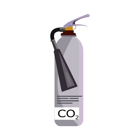 Gray fire extinguisher illustration. Steel, equipment, fire protection. Fire safety concept. illustration can be used for topics like engineer system, safety
