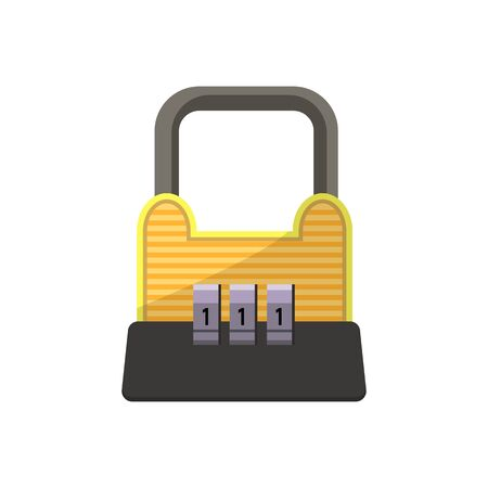 Yellow and black combination lock. Code, access, figures. Can be used for topics like privacy, security, protection 版權商用圖片