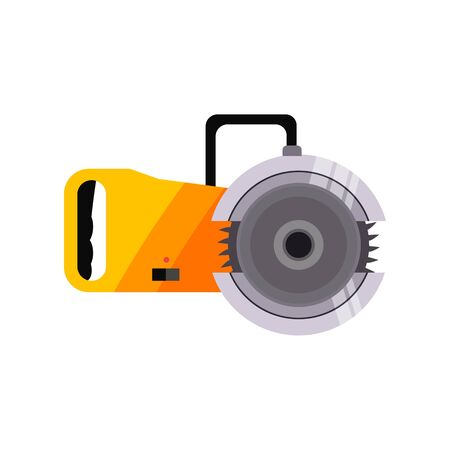 Automatic chainsaw illustration. Equipment, mechanic, device. Working instrument concept. illustration can be used for topics like working, hard industry