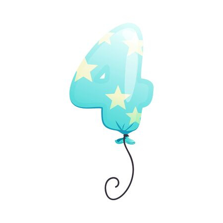 Blue balloon with star pattern in shape of number four . Birthday, anniversary, new year. Text concept. illustration can be used for topics like celebration, party, holiday