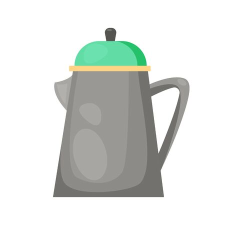 Gray teapot illustration. Kettle, water heating. Kitchenware concept. illustration can be used for topics like kitchen, cooking