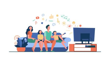 Cartoon happy family watching television together isolated flat vector illustration. Mother, father and kids relaxing on couch at home. Technology, lifestyle and entertainment concept 일러스트