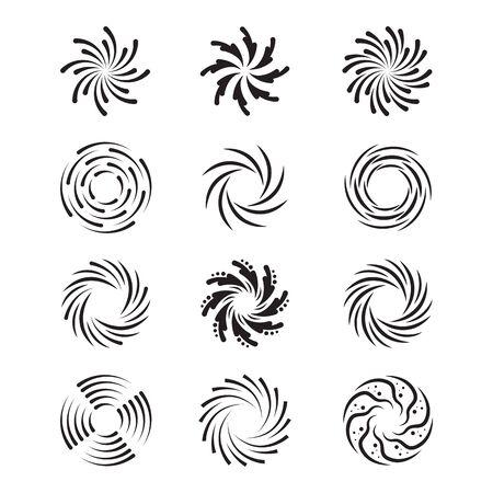 Spinning swirls set. Circular spirals, radial twirls, monochrome twisting shapes in motion. Vector illustrations for hypnotic effect, hypnosis, whirlpool, vortex topics 向量圖像