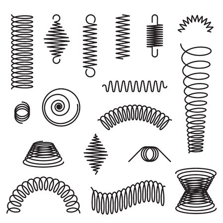 Metal spirals set. Flexible spring, industrial coil, springy curve. Vector illustrations for compression, equipment, engineering topics