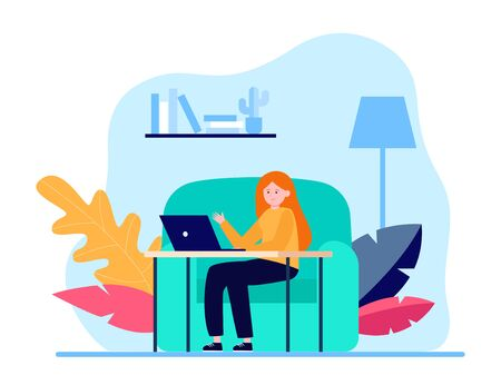Young woman sitting at sofa and working via laptop. Home, chat, girl flat vector illustration. Freelance and digital technology concept for banner, website design or landing web page 일러스트
