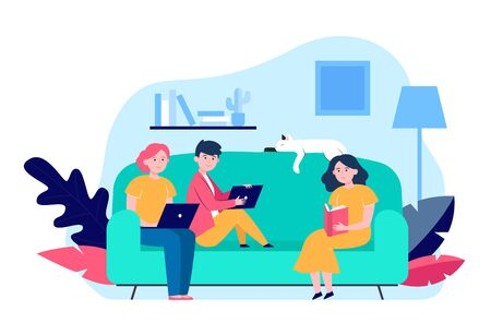 Young people sitting on sofa with laptop or book. Cat, room, couch flat vector illustration. Hobby and leisure concept for banner, website design or landing web page