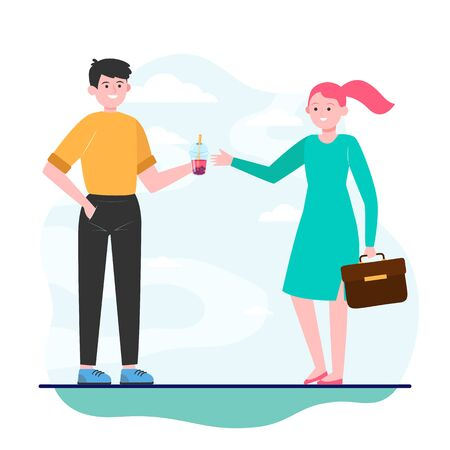 Young man giving bubble tea to girl. Friend, colleague, woman flat vector illustration. Friendship and relationship concept for banner, website design or landing web page 일러스트