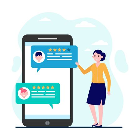 Woman reading customer feedback and rating. Smartphone, chat, comment flat vector illustration. Communication and digital technology concept for banner, website design or landing web page Çizim