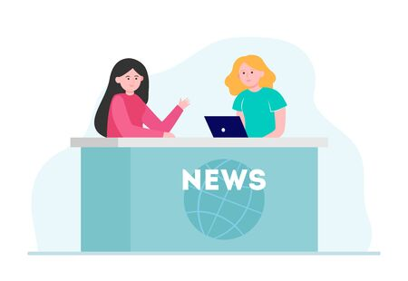 Two women telling news in studio. Laptop, reporter, anchorperson flat vector illustration. TV broadcast and digital technology concept for banner, website design or landing web page