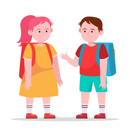 Little boy and girl chatting with each other. Pupil, backpack, school flat vector illustration. Friendship and childhood concept for banner, website design or landing web page 向量圖像