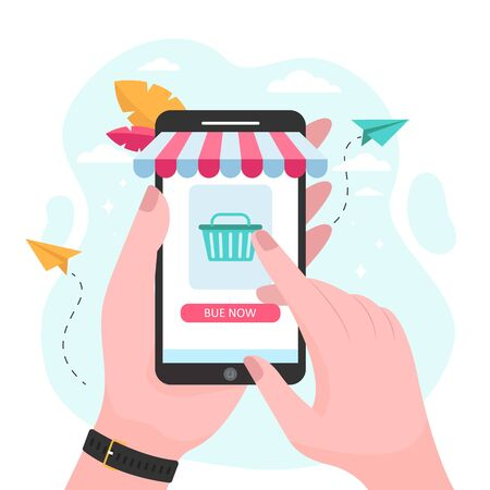 Hands holding smartphone and buying in online store. Phone, sale, buyer flat vector illustration. Shopping and digital technology concept for banner, website design or landing web page