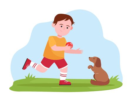 Little boy playing with dog. Pupil, puppy, ball flat vector illustration. Animals and childhood concept for banner, website design or landing web page