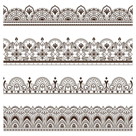 Indian ethnic borders set. Ornate dividers, henna traditional ornament, floral embroidery pattern. Vector illustrations for art, graphic decoration, India concept