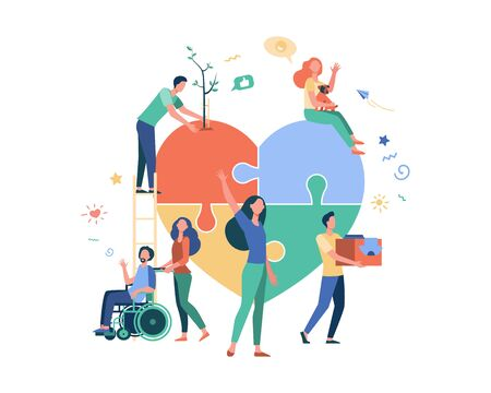 Stylized volunteers help charity and sharing hope isolated flat vector illustration. Cartoon abstract social team or group with humanitarian support. Donation and aid community concept