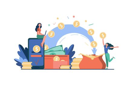Stylized people sending payment and receiving money isolated flat vector illustration. Cartoon tiny woman with wallet and coins. Remittance, bank and financial transactions concept