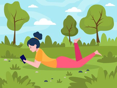 Young woman lying on meadow with smartphone. Phone, nature, leisure flat vector illustration. Lifestyle and digital technology concept for banner, website design or landing web page 일러스트