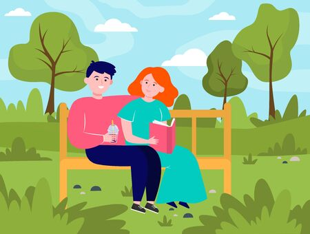 Happy couple sitting on bench in park. Date, love, book flat vector illustration. Relationship and family concept for banner, website design or landing web page