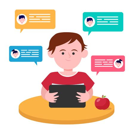 Little boy sitting at table and chatting with friends. Tablet, apple, desk flat vector illustration. Friendship and childhood concept for banner, website design or landing web page