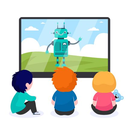 Children watching cartoon with robot. TV, screen, toy flat vector illustration. Childhood and digital technology concept for banner, website design or landing web page