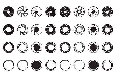 Camera lens signs set. Shutter aperture or diaphragm graphic symbols. Vector illustrations for optics, photographic device, photographer job or studio logo