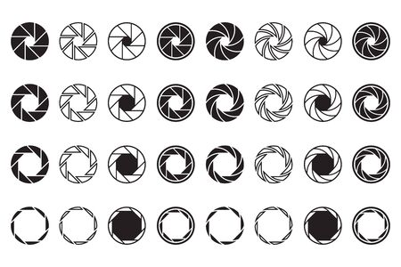 Camera lens signs set. Shutter aperture or diaphragm graphic symbols. Vector illustrations for optics, photographic device, photographer job or studio logo
