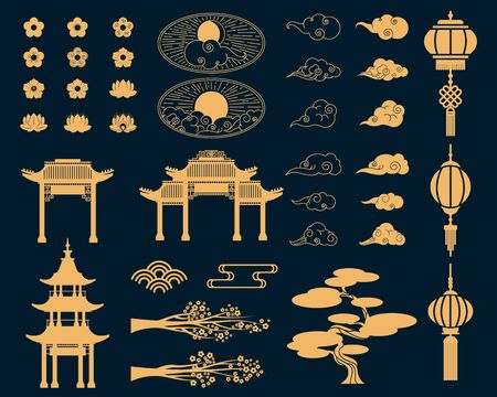Asian decorative elements set. Gold lanterns, Japanese sakura blossoms and tree branches, traditional gates. Vector illustrations for Japan, culture symbols, tradition concept