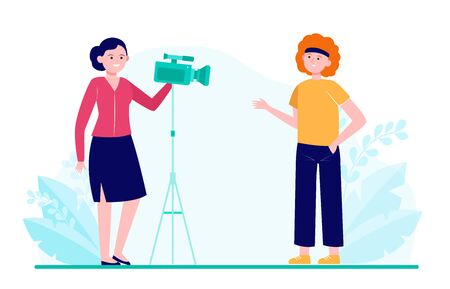 Two women shooting movie, interview or video for blog. Camera, reporter, training flat vector illustration. Cinema and digital technology concept for banner, website design or landing web page