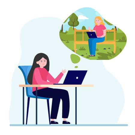 Female friends chatting via laptop computer. Online, chat, distance flat vector illustration. Communication and digital technology concept for banner, website design or landing web page 일러스트